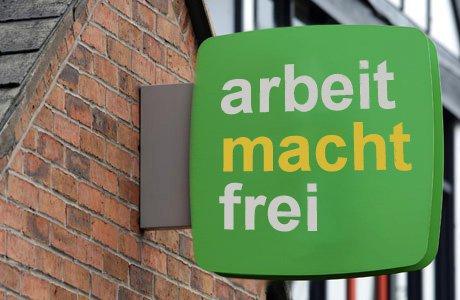 arbeit-macht-frei-job-centre-sign