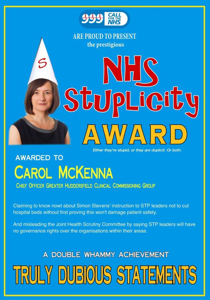 Carol McKenna Stuplicity Award double whammy