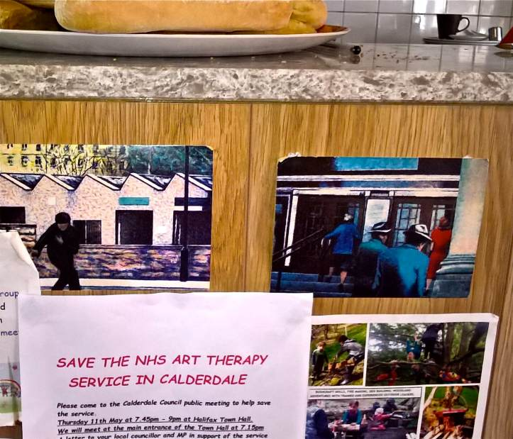 SAve NHS Art Therapy service in Calderdale - flyer at marco's